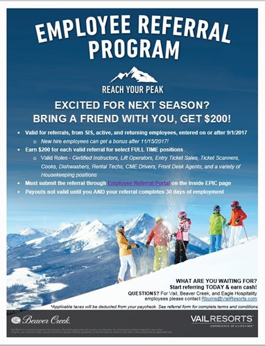 employee referral program beavercreek staff